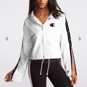 white cropped Champion jacket